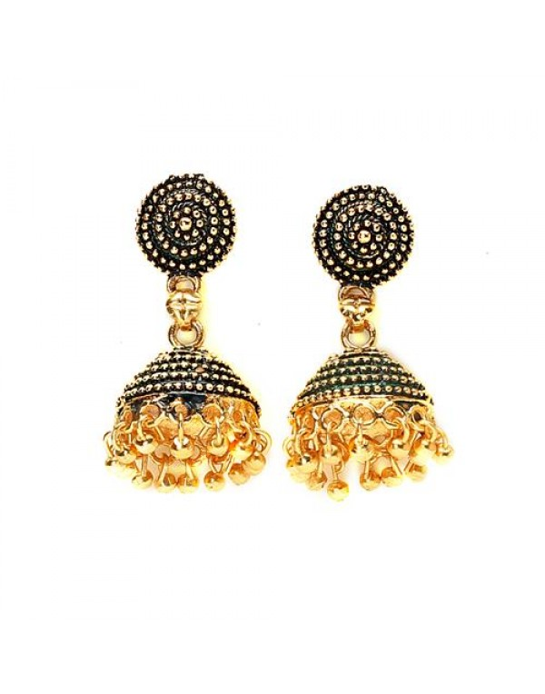 Oxidized Gold Drop Dangle Jhumki